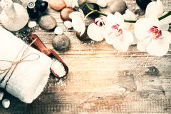 Spa setting with herbal massage ball and essential oil. Wellness. And spa concept with copy space stock photos