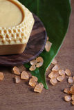 Spa setting with honey soap Stock Photo