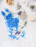 Spa setting with lavender sea salt for bath royalty free stock images