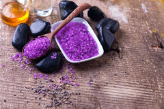 Spa setting. Lavender sea salt, bottles with aroma oil Stock Photo