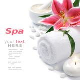 Spa setting with lily flower Royalty Free Stock Photography