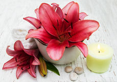 Spa setting with lily flower Stock Images