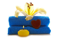 Spa setting with lily flower. Royalty Free Stock Images