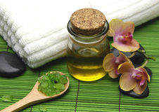 Spa setting with massage Stock Photography
