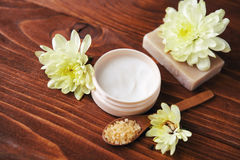 Spa setting with natural handmade soap, sea salt  beauty cream Royalty Free Stock Photos