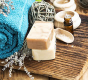 Spa Setting.Natural Homemade SOaps with Lavander and Towel on Wo Stock Images