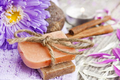 Spa setting with natural soap Royalty Free Stock Photos