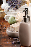 Spa setting with natural soap and lavender Stock Photo