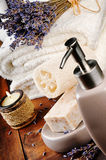 Spa setting with natural soap and lavender Stock Photos