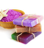 Spa setting with natural soap Royalty Free Stock Image