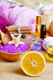 Spa setting with natural soap and sea salt Royalty Free Stock Images