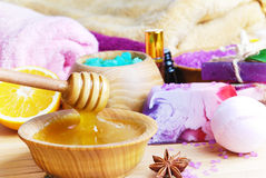 Spa setting with natural soap and sea salt Stock Photo
