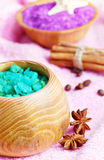 Spa setting with natural soap and sea salt Stock Photography