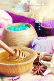 Spa setting with natural soap and sea salt Royalty Free Stock Photography