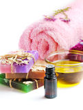 Spa setting with natural soap and sea salt Stock Images