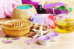 Spa setting with natural soap and sea salt Royalty Free Stock Photo