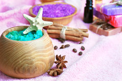 Spa setting with natural soap and sea salt Royalty Free Stock Image