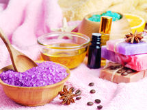 Spa setting with natural soap and sea salt Royalty Free Stock Photos