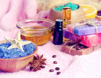 Spa setting with natural soap and sea salt Stock Photos