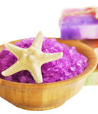 Spa setting with natural soap and sea salt Stock Image