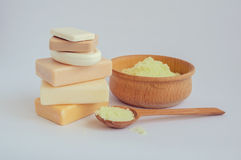 Spa setting with natural soaps Stock Images