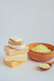 Spa setting with natural soaps Royalty Free Stock Image