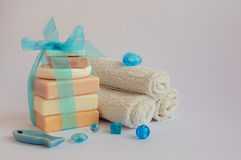 Spa setting with natural soaps Royalty Free Stock Photography