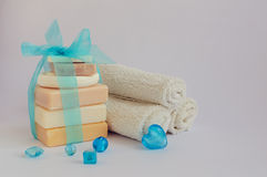 Spa setting with natural soaps stock image