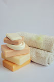 Spa setting with natural soaps Royalty Free Stock Images