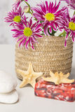 Spa setting with natural soaps and flower Royalty Free Stock Photo