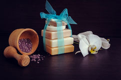 Spa setting with natural soaps Stock Photos