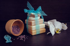 Spa setting with natural soaps Royalty Free Stock Photo
