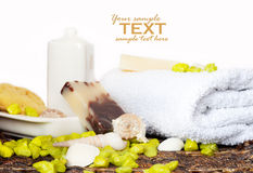 Spa setting with natural soaps and shampoo Royalty Free Stock Photo