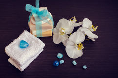 Spa setting with natural soaps Royalty Free Stock Photos