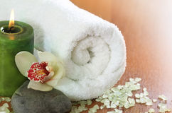 Spa setting with orchid Stock Photo