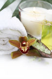 Spa setting with orchid Royalty Free Stock Images