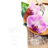 Spa setting with orchid flowers, toned photo Royalty Free Stock Images