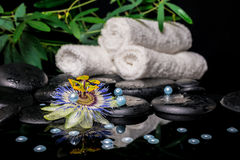 Spa setting of passiflora flower, branches, stacked towels, zen Stock Image