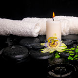 Spa setting of passiflora flower, green branch fern and candle o Stock Photo