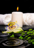 Spa setting of passiflora flower, green branch fern, towels Stock Photos