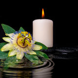 Spa setting of passiflora flower, green leaf with drop. And candles on zen stones in ripple reflection water, closeup stock photography