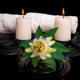 Spa setting of passiflora flower, green leaf with drop, towels a Stock Image