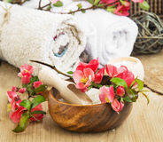Spa Setting with Pink Beautiful Flowers and Sea Salt Stock Photo