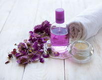 Spa setting , pink rose , health and beauty care Stock Photography