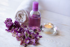 Spa setting , pink rose , luxury spa resort Stock Images