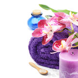 Spa setting in purple tone Royalty Free Stock Image