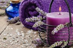 Spa setting in purple tone Stock Photos