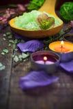 Spa setting salt bath aromatic candles Stock Image