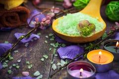 Spa setting salt bath aromatic candles Stock Photo