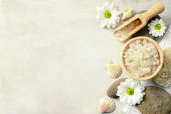 Spa setting with sea salt. Top view Stock Image